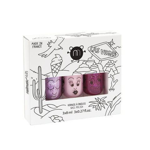 Nailmatic Kids - Las Vegas - Set of 3 nail varnishes - How I Wonder.co.uk