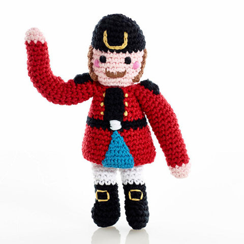 Pebble Fair Trade - Crochet Soldier Rattle - How I Wonder.co.uk
