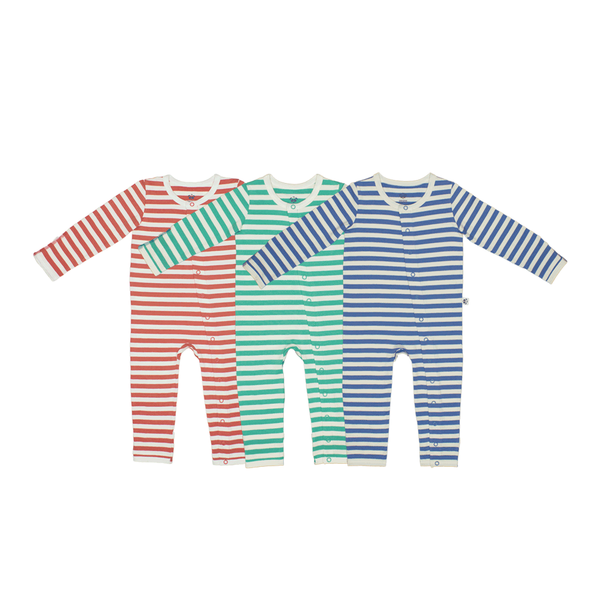 Bamboo Striped Baby Grow - Panda and the Sparrow - Coral & Natural - How I Wonder.co.uk - 4