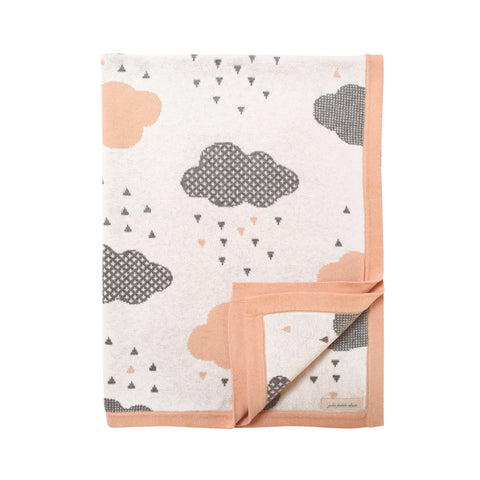Unique Cotton Baby Blanket - Powder Blush Rainy Day Blanket Design - How I Wonder.co.uk - 1