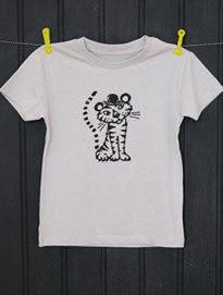 Soft Grey T-Shirt - Tiger Print - Petra Boase - how-i-wonder