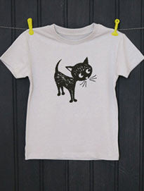 Soft Grey T-Shirt - Cat Print - Petra Boase