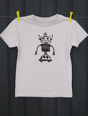 Soft Grey T-Shirt - Robot Print - Petra Boase - how-i-wonder