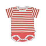 Bamboo Striped Body T-Shirt - Panda and the Sparrow - Coral & Natural - How I Wonder.co.uk - 1