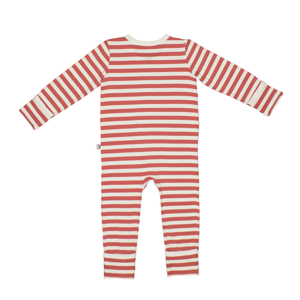 Bamboo Striped Baby Grow - Panda and the Sparrow - Coral & Natural - How I Wonder.co.uk - 2