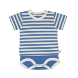 Bamboo Striped Body T-Shirt - Panda and the Sparrow - Sapphire & Natural - How I Wonder.co.uk - 1