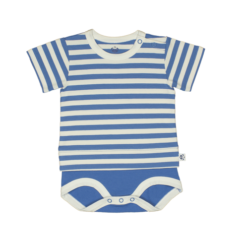Bamboo Striped Body T-Shirt - Panda and the Sparrow - Sapphire & Natural - how-i-wonder