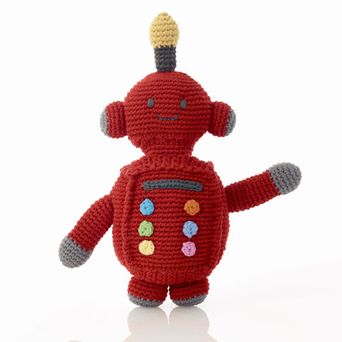Pebble Fair Trade - Crochet Red Robot Rattle - How I Wonder.co.uk - 1