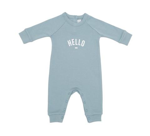 Slate Grey - Hello - Baby All-In-One - Bob & Blossom - how-i-wonder