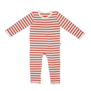 Bamboo Striped Baby Grow - Panda and the Sparrow - Coral & Natural - How I Wonder.co.uk - 1