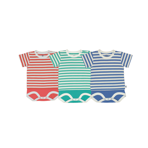 Bamboo Striped Body T-Shirt - Panda and the Sparrow - Coral & Natural - How I Wonder.co.uk - 4