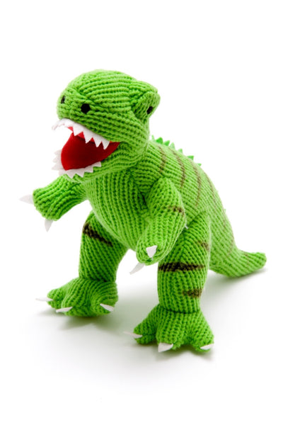 Best Years - Knitted Mini T-Rex - Dinosaur Rattle - How I Wonder.co.uk - 1