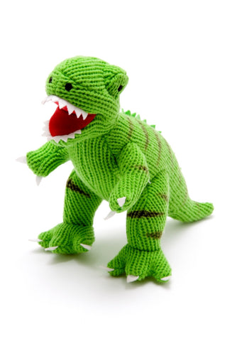 Knitted Mini T-Rex - Dinosaur Rattle - Best Years - how-i-wonder