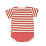 Bamboo Striped Body T-Shirt - Panda and the Sparrow - Coral & Natural - How I Wonder.co.uk - 2
