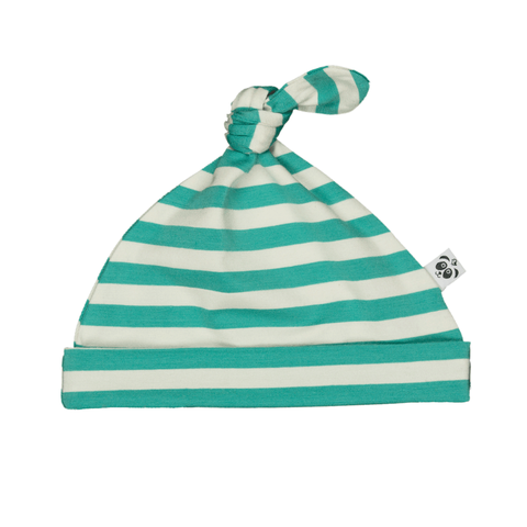 Bamboo Striped Knotted Baby Hat - Panda and the Sparrow - Jade & Natural - How I Wonder.co.uk - 1