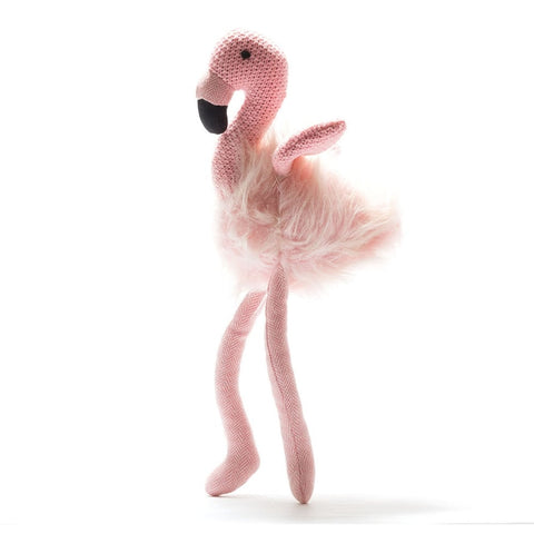 Knitted Flamingo - Rattle - Best Years - how-i-wonder