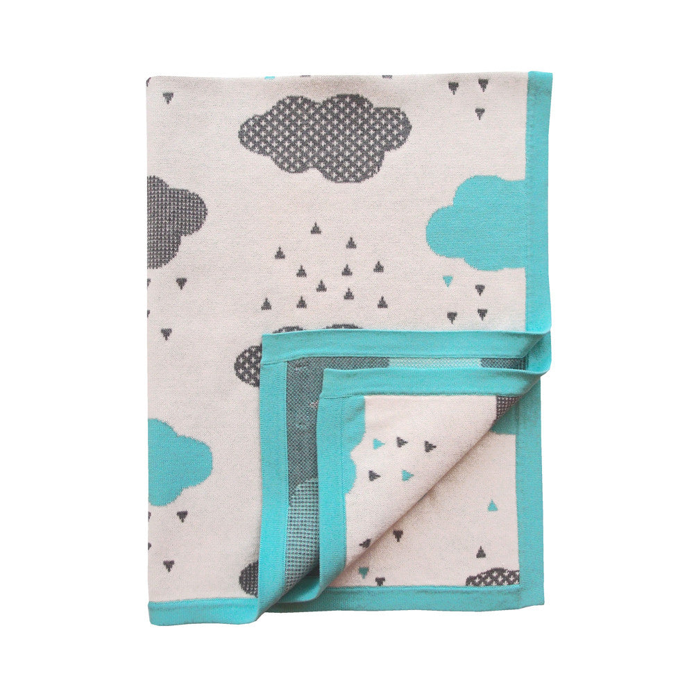 Unique Cotton Baby Blanket - Aqua Rainy Day Blanket Design - How I Wonder.co.uk - 1