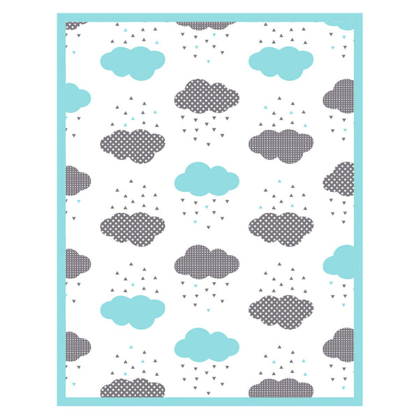 Unique Cotton Baby Blanket - Aqua Rainy Day Blanket Design - How I Wonder.co.uk - 3