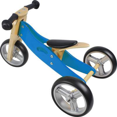 Wooden Balance Bike - 2 in 1 toddler bike & trike - Blue - How I Wonder.co.uk - 1