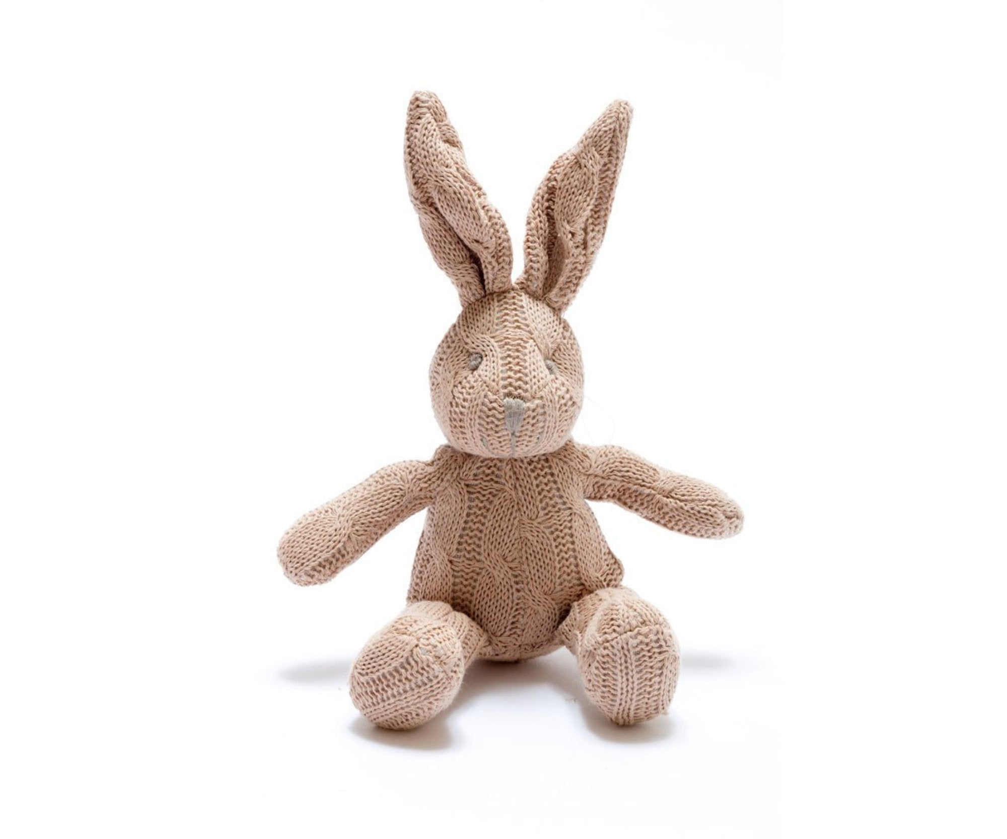 Cable Knit Rabbit Rattle - Pebble - how-i-wonder
