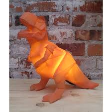 LED Mini Orange Origami Dinosaur Lamp