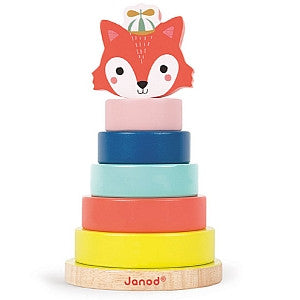 Janod Toys - Baby Forest - Wooden Fox Stacker - how-i-wonder