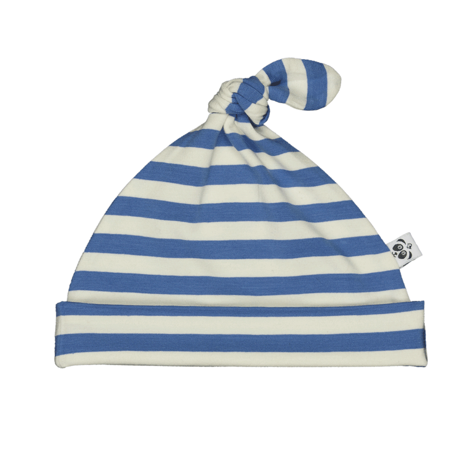 Bamboo Striped Knotted Baby Hat - Panda and the Sparrow - Sapphire & Natural - how-i-wonder