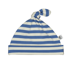Bamboo Striped Knotted Baby Hat - Panda and the Sparrow - Sapphire & Natural - How I Wonder.co.uk - 1