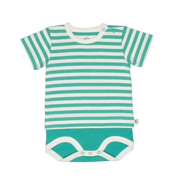 Bamboo Striped Body T-Shirt - Panda and the Sparrow - Jade & Natural - How I Wonder.co.uk - 1