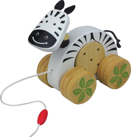 Wooden Bamboo Baby Pull-Along Toy - Zebra Jingle Roller - How I Wonder.co.uk - 1