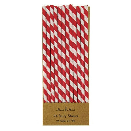 Paper Red and White Striped Straws - Meri Meri - Pirate Theme - How I Wonder.co.uk - 1