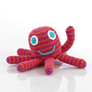 Pebbles Fair Trade - Crochet Pink/Purple Octopus soft toy - How I Wonder.co.uk