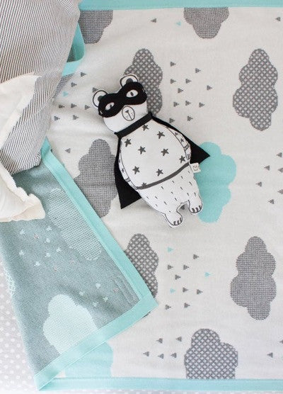 Unique Cotton Baby Blanket - Aqua Rainy Day Blanket Design - How I Wonder.co.uk - 5