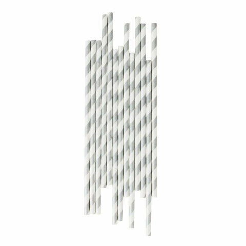 my little day - Candy Stripe Paper Straws - Silver and White - how-i-wonder