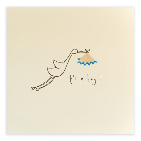 Greetings Cards - Ruth Jackson - Baby Boy Stork - How I Wonder.co.uk