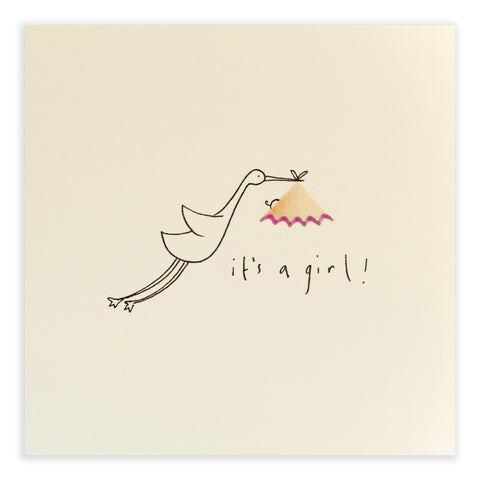 Baby Girl Stork - Greetings Card - Ruth Jackson - how-i-wonder