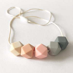 Hexagonal Teething Necklace - Rose Mix - Blossom & Bear