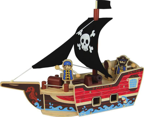 Wooden Toy - Nicko Q-PACK Pirate Boat - How I Wonder.co.uk - 1