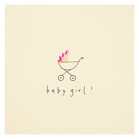 Greetings Cards - Ruth Jackson - Baby Girl Pram - How I Wonder.co.uk