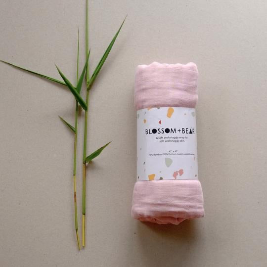 blossom & bear - muslin swaddle - rose pink