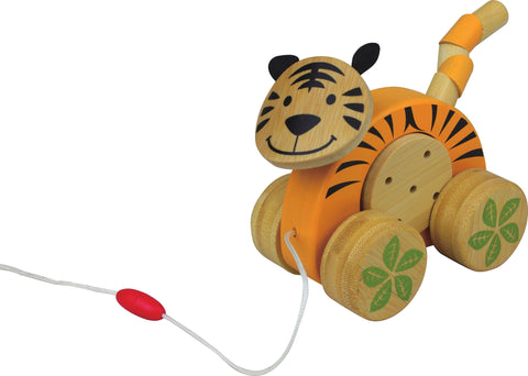 Wooden Bamboo Baby Pull-Along Toy - Tiger Jingle Roller - How I Wonder.co.uk - 1