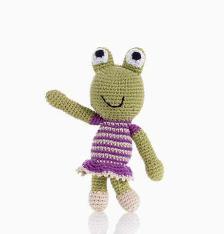 Pebble Fair Trade - Crochet Girl Frog Rattle - How I Wonder.co.uk