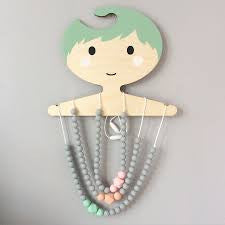 Colour Pop Teething Necklace - Grey & Mint - Blossom & Bear