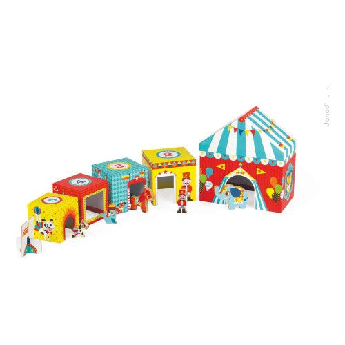 Janod Toys - Circus Themed - Cubed Stacking Toy - How I Wonder.co.uk - 1