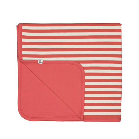 Bamboo Striped Reversible Baby Blanket  - Panda and the Sparrow - Coral & Natural - How I Wonder.co.uk - 1