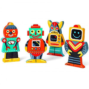 Janod - Wooden Funny Magnets - Robots - How I Wonder.co.uk - 1