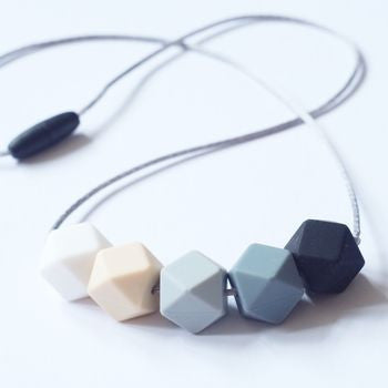 Hexagonal Teething Necklace - Black & Greys - Blossom & Bear