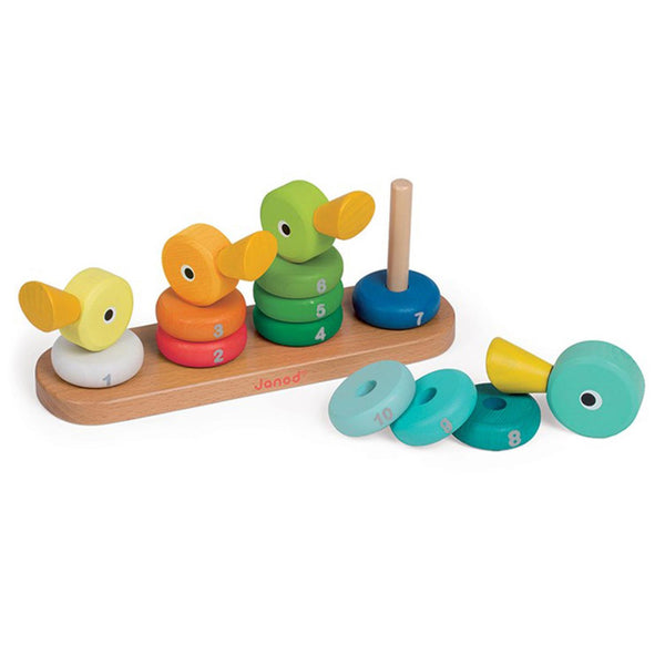Janod Toys - Duck Family - Wooden Number Stacker - how-i-wonder