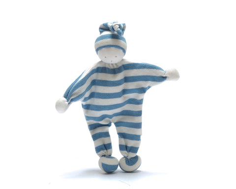 Pebble Fair Trade - Blue Striped Baby Comforter - How I Wonder.co.uk