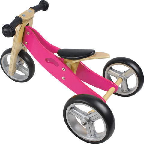 Wooden Balance Bike - 2 in 1 toddler bike & trike - Pink - How I Wonder.co.uk - 1